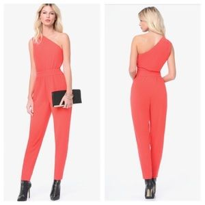 bebe one shoulder red jumpsuit